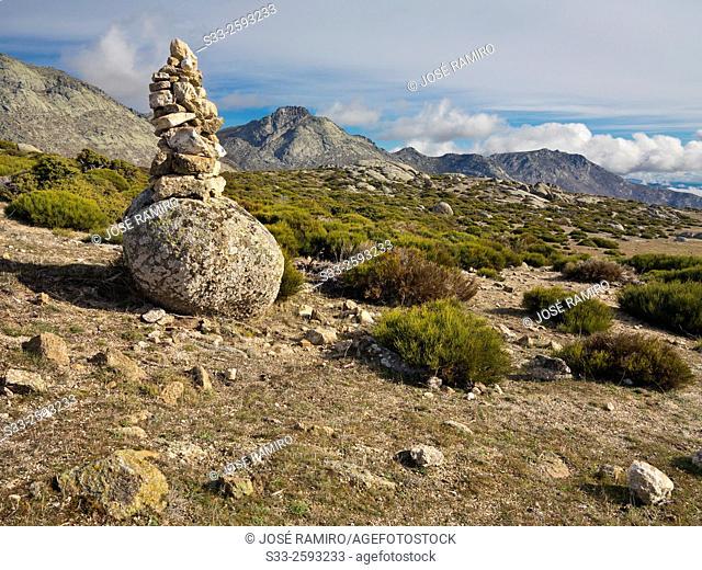 Milestone in the Sierra de la Paramera. Navandrinal. Avila. Castilla Leon. Spain. Europe