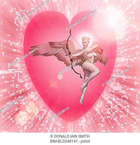 Cupid holding bow and arrow in cyberspace
