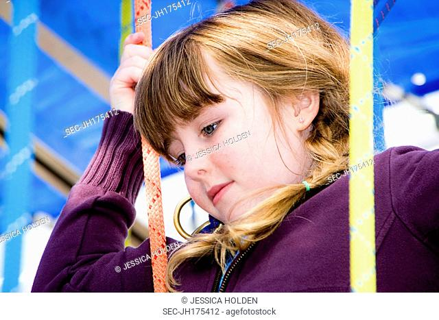 Picture of girl (10-12) at amusement park
