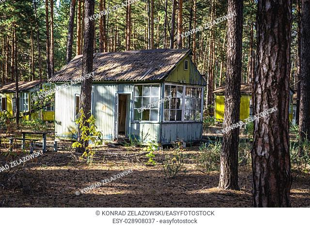 """Old cottage in """"""""Emerald"""""""" recreation base in Chernobyl Nuclear Power Plant Zone of Alienation around the nuclear reactor disaster in Ukraine"""