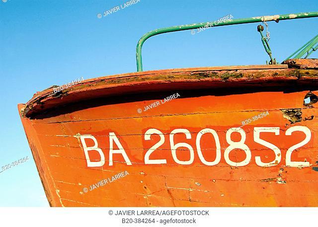 Abandoned fishing boat. Hendaye harbour. Aquitaine. France