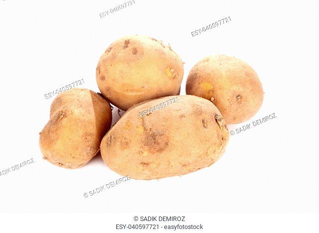 close up shot of potatoes isolated on white background