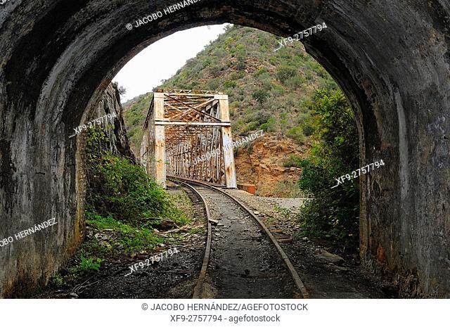 Mining railway.Tinto river.Huelva province.Andalusia.Spain