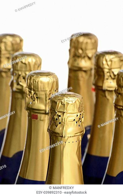 Buttle necks of sparkling wine or champagne