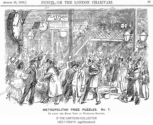 'Metropolitan Prize Puzzles. No. 7.', 1883. An illustration of the problems caused by a plethora of clocks at Waterloo station