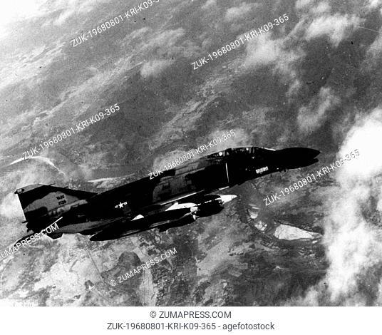 July 6, 1967 - Saigon, Vietnam - A U.S. Air Force McDonnell Douglas F-4 Phantom II jet flies over Vietnam during the war