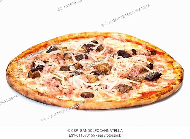 home pizza with sausage and eggplant
