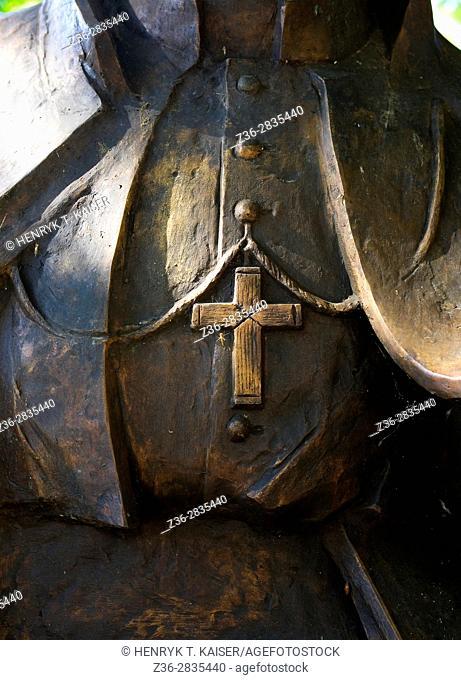 Detail of John Paul II statue by Saint Stanislaus church (na Skalce) and Paulinite monastery, Krakow, Poland