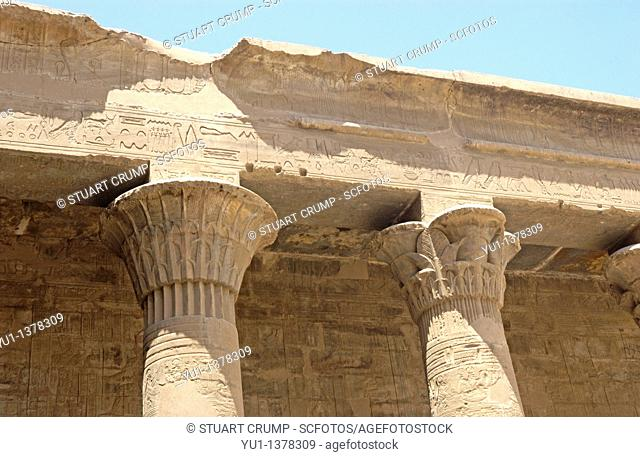 Ornate details on the piilars at Edfu Temple, the temple is dedicated to Horus  Egypt, North Africa