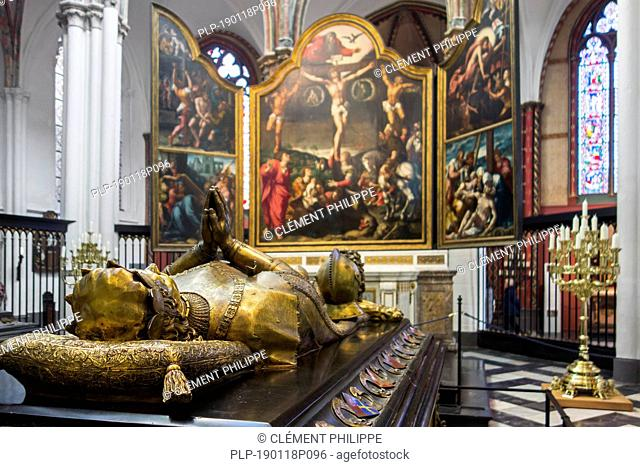 Triptych Passion of Christ and tomb of Charles the Bold in the Church of Our Lady / Onze-Lieve-Vrouwekerk in the city Bruges, West Flanders, Belgium