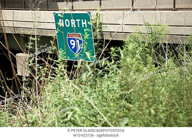 Highway sign reading, 'North 91'