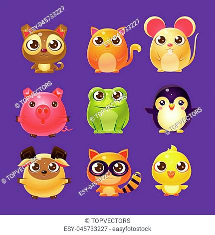 Adorable Baby Animals In Girly Design. Set Of Bright Color Vector Icons Isolated On Dark Background. Cute Childish Animal Characters Design