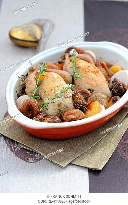 Quails stuffed with dried fruits and cognac