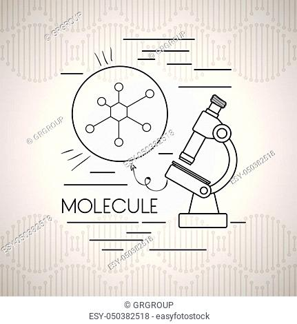 molecule structure with microscope vector illustration design