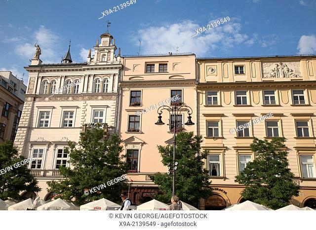 Facade in Rynek Glowny - Town Square, Krakow, Poland