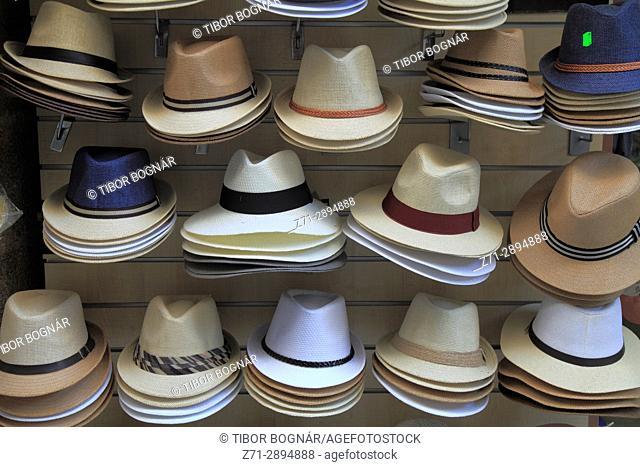 Greece, Dodecanese, Rhodes, sun hats, shop, shopping,
