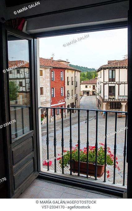Doña Urraca Square viewed through an open window. Covarrubias, Burgos province, Castilla Leon, Spain