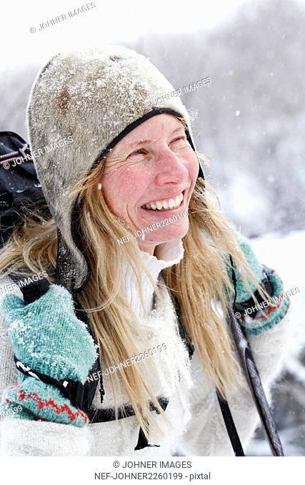 Portrait of smiling skier
