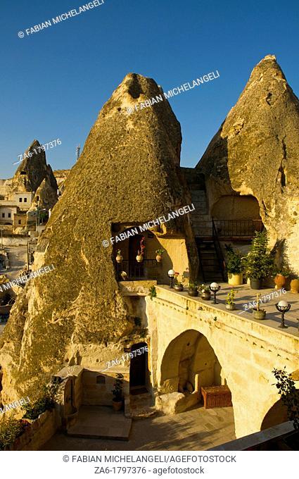 Cave hotel in Goreme, Cappadocia, Anatolia, Turkey