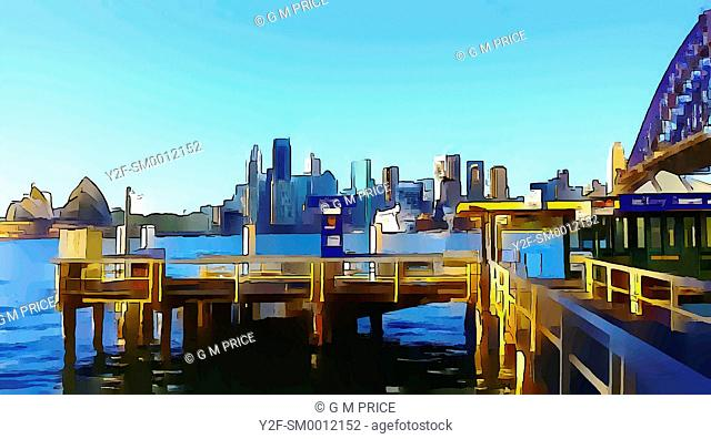 watercolour filter view of Kirribilli ferry wharf and Sydney city skyline
