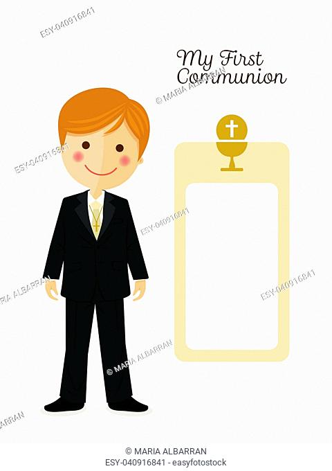 Child costume in her first communion dress vertical invitation on ocher color background