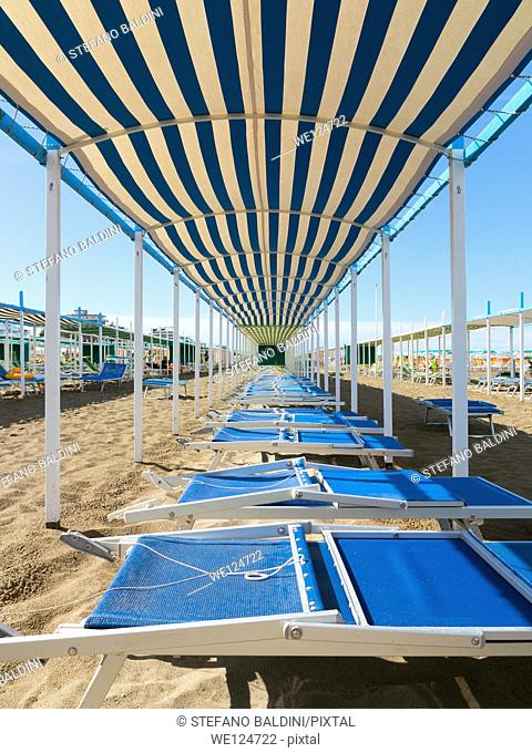 Lounge chairs on the beach, Riccione, Italy