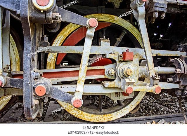 Steam locomotive iron wheels Stock Photos and Images | age