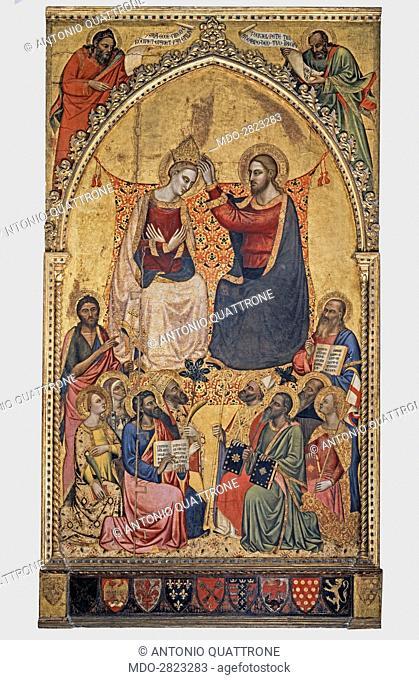 Coronation of the Virgin, or Altarpiece of the Mint (Incoronazione della Vergine tra due profeti e dieci santi, o Pala della Zecca), by Jacopo di Cione