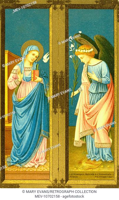 The Annunciation by Fra Filippo Lippi, showing the Virgin Mary and the Angel Gabriel in separate panels