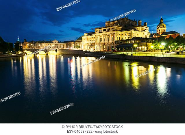 Night View Of Illuminated Stockholm Royal Opera in Evening, Sweden