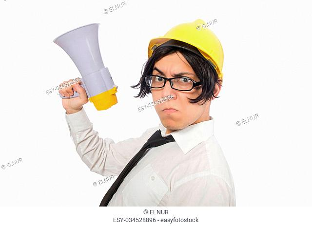 Construction worker in funny concept on white