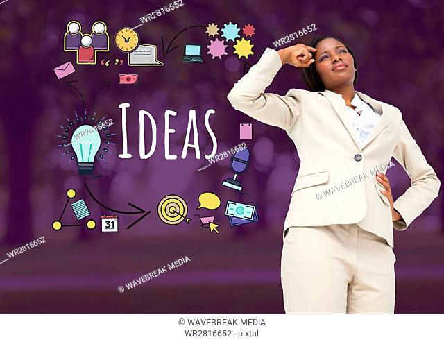 Businesswoman thinking with Ideas text with drawings graphics