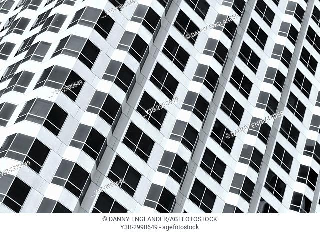 Zoomed-in view of a modern skyscraper in downtown San Diego, California