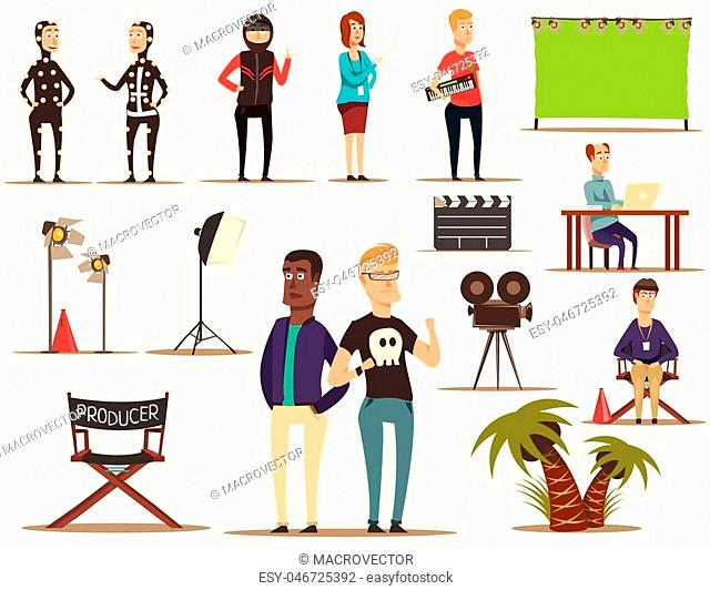 Movie making set of flat doodle filmmaking shooting team characters pieces of theatrical scenery lighting equipment vector illustration