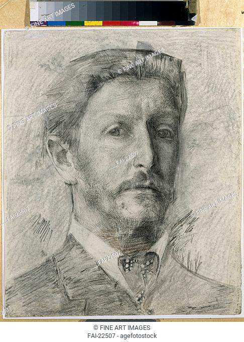 Self-Portrait. Vrubel, Mikhail Alexandrovich (1856-1910). Coal, chalk on paper. Symbolism. 1904-1905. Russia. State Tretyakov Gallery, Moscow