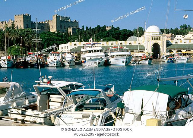 Harbour & Palace of the Grand Masters. Rhodes. Dodecanese. Greece