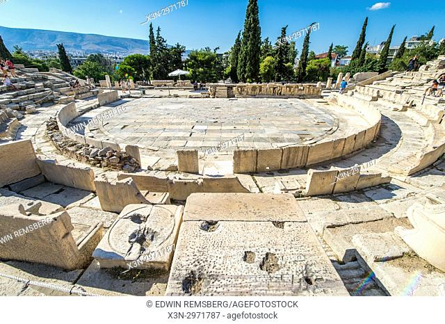 The Theatre of Dionysus Eleuthereus at the foot of the Athenian Acropolis in Greece