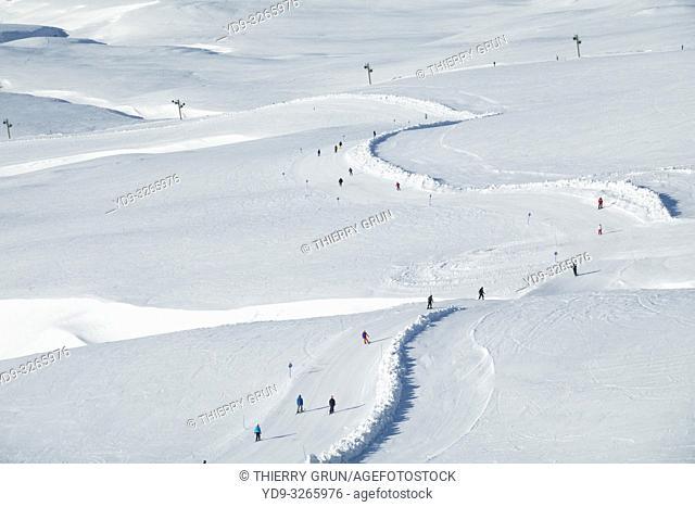 France, Puy de Dome (63), Besse-et-Saint-Anastaise, ski station of Super Besse, Col de Couhay pass, ski slope