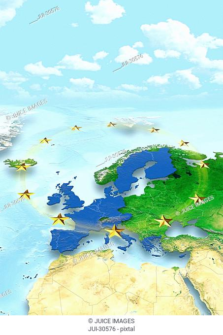 map, Western Europe, physical, political, clouds, sky, European Union, EU Stars