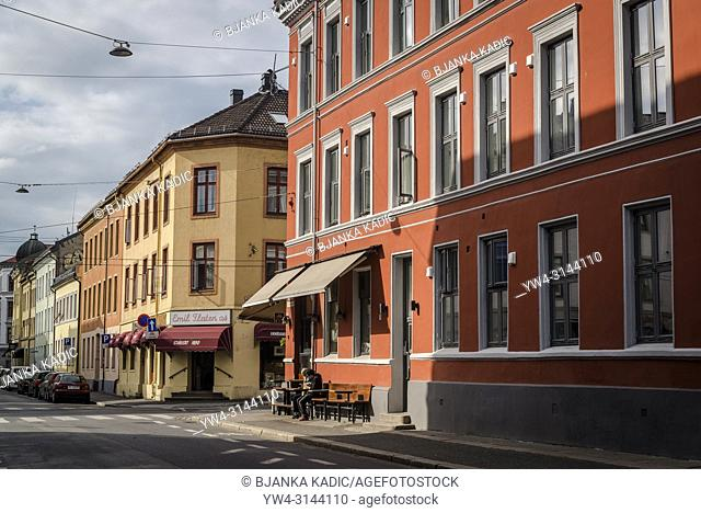Street in central Grunerlokka neighbourhood with typical 19th century buildings, Oslo, Norway, Oslo, Norway