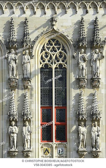Belgium, Bruges, World Heritage Site, Burg square, The City Hall (14th C)