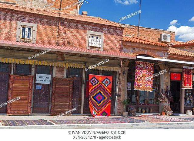 Street in old town, carpets shop, Pergamon, Bergama, Izmir Province, Turkey