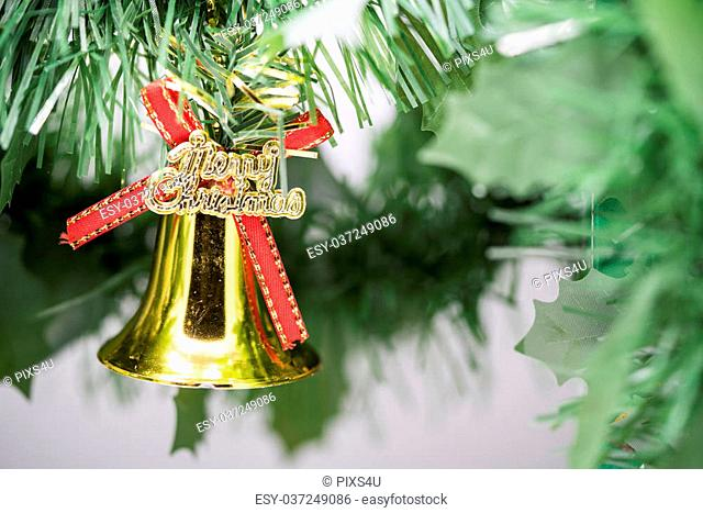 Christmas bell ornament hang on Christmas tree branch with green background