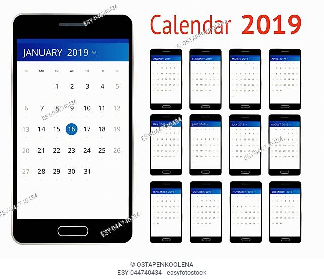 Vector Calendar for 2019 year. Smartphone with a calendar, one month plans. Design print template. Set of 12 calendar pages. Stationery design