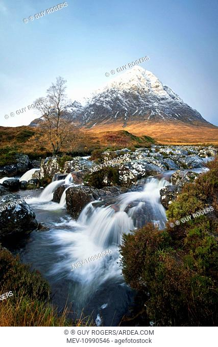 Coupal River Waterfall with Buachaille Etive Mor in the background November Rannoch Moor Scotland