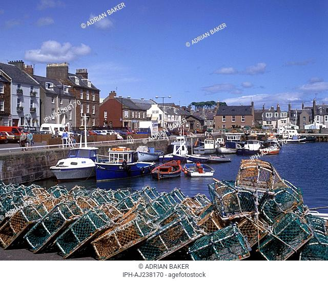 Lobster pots on the quayside at Arbroath