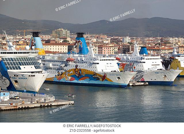Ferries berthed at Livorno Italy