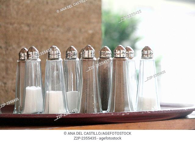 Salt & Pepper Shaker on white background Restaurant in Marseille France