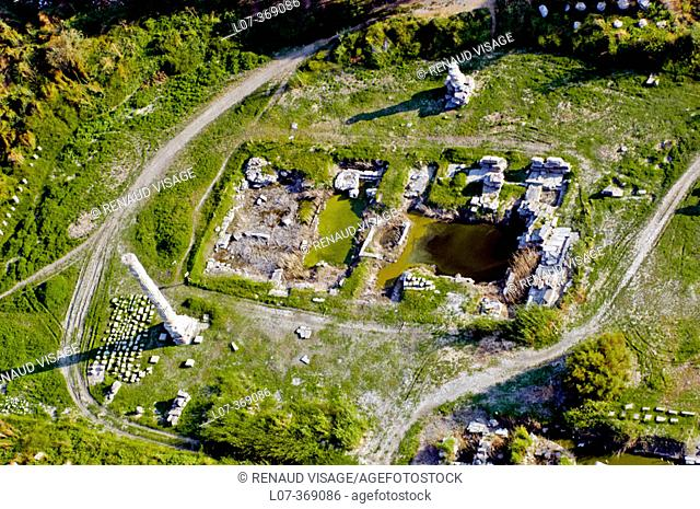 Aerial view of the remains of the Temple of Artemis, one of the Seven Wonders of the Ancient World. Selçuk. Turkey