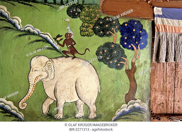 Monkey sitting on a white elephant, wall painting or fresco, Tibetan Buddhist Likir Monastery, Ladakh, Jammu and Kashmir, North India, India, Asia
